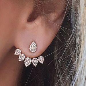 Jewelry - Rhinestone Crystal Flower Teardrop Jacket Earrings